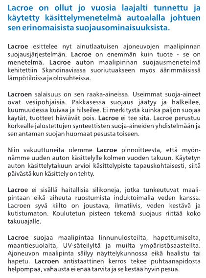 Lacroe kestopinnoite Jyväskylä
